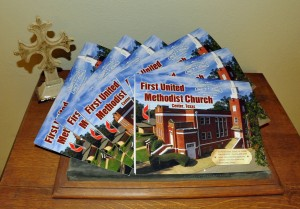 """First United Methodist Church began our year-long celebration """"150 Years to Celebrate, 150 Ways to Serve"""" in honor of our sesquicentennial anniversary in January 2016. Our anniversary calendars are now available for purchase ~ visit Kelli or Karen at the church office! The calendars are $10 each!"""
